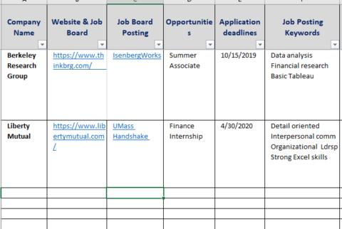 Job & Internship Search Tracking Template