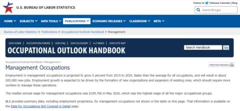 Occupational Outlook Handbook – Management Occupations