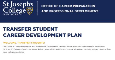 Transfer Student Career Development Plan