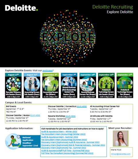 Deloitte Recruiting Events at UMass – Fall 2021