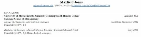MFAI Resume with UMass Undergrad Degree