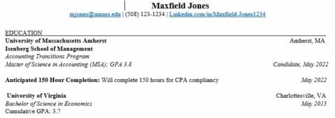 MSA Transition Program Resume with non-UMass Undergrad Degree