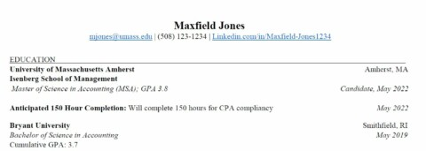 MSA Professional Program Resume with non-UMass Undergrad Degree