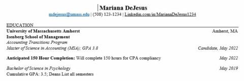 MSA Transition Program Resume with UMass Undergrad Degree