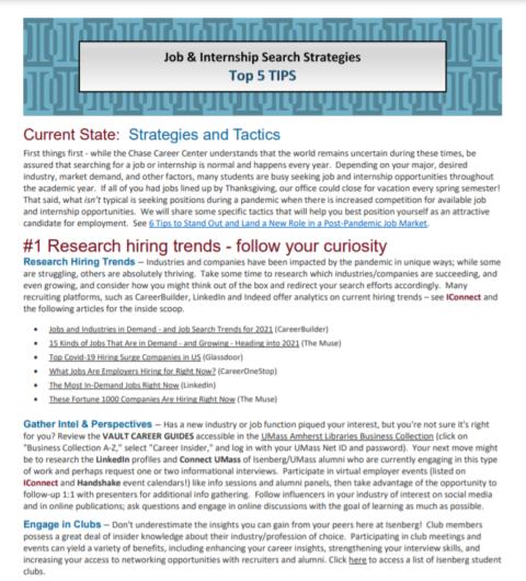 Job & Internship Search Strategies – Top 5 Tips