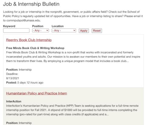 School of Public Policy (SPP): Job & Internship Bulletin