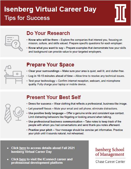 Isenberg Virtual Career Day Tips for Success