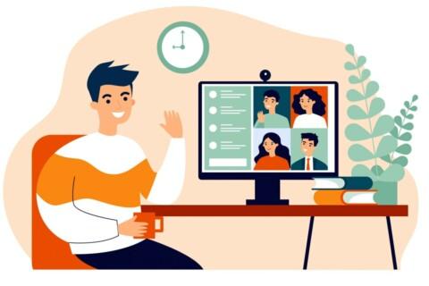 cartoon image person waving in virtual meeting