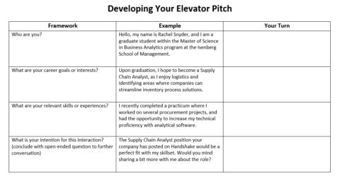 Elevator Pitch Worksheet for MSBAs